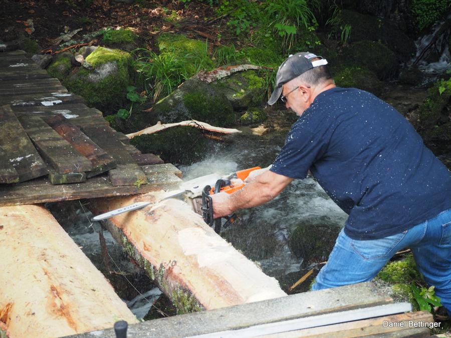 Les troncs sont préparés pour la pose du platelage
