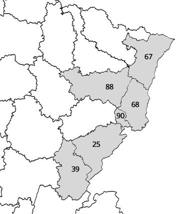 Randonnées en France - départements EST