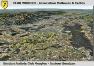 montrer la zone de balisage du club vosgien de mulhouse dans le Sundgau