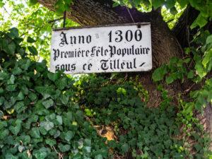 Panneau indiquant la date de plantation du fameux tilleul de Bergheim