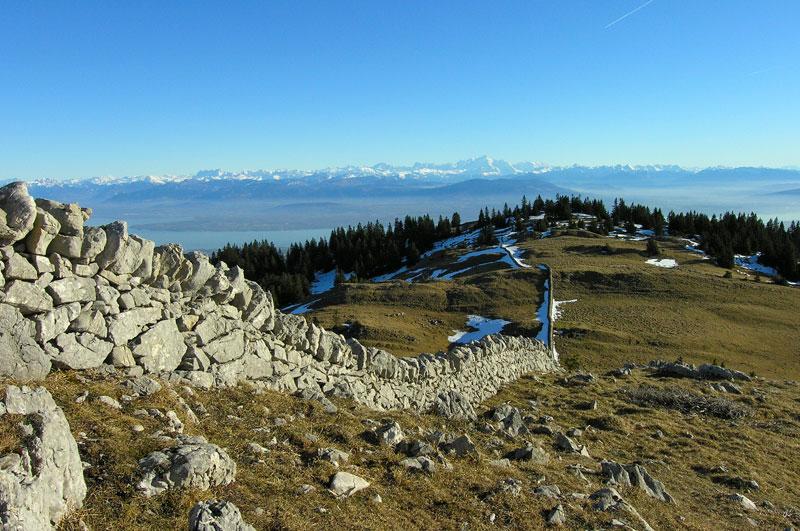 Un bout du lac Léman et la chaîne du Mont-Blanc